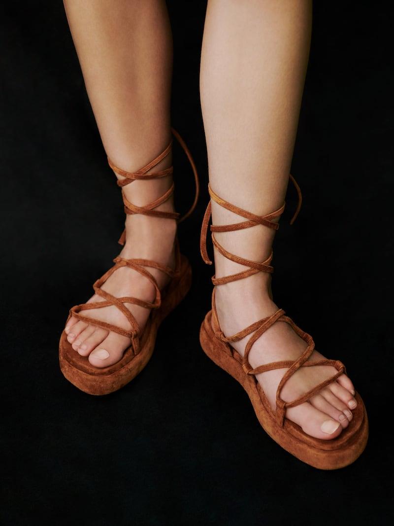 Khaite Alba Suede Ankle-Tie Gladiator Sandals