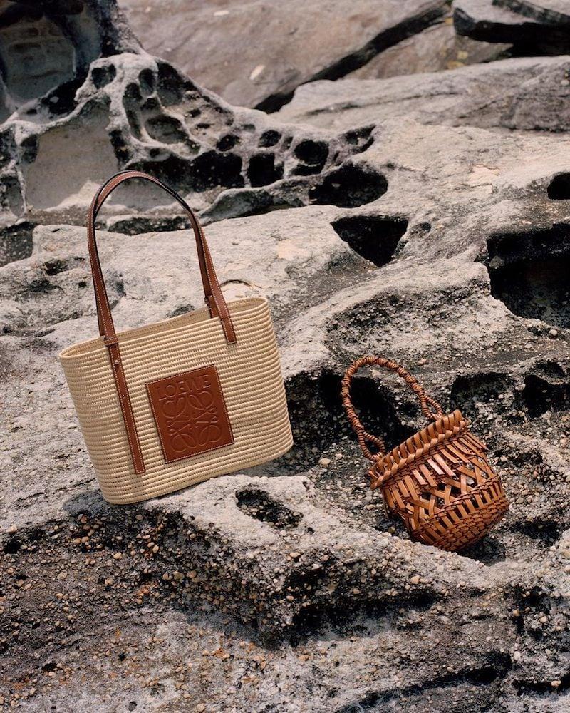 Loewe Fringes Small Leather Bucket Bag