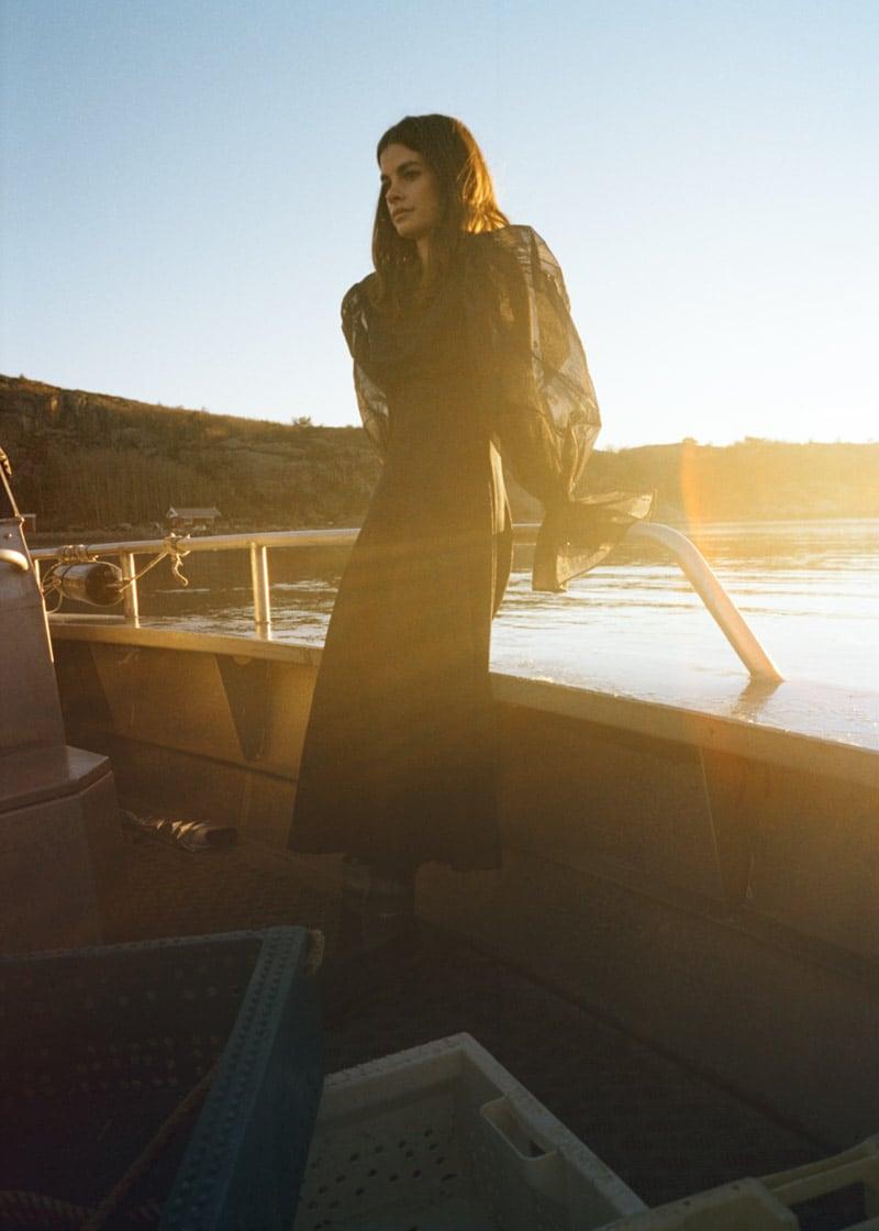 & Other Stories Organza Sleeve Silk Midi Dress