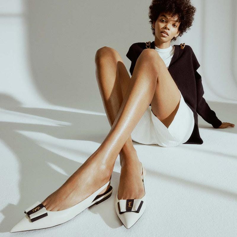Saint Laurent Anaïs Leather Slingback Ballet Flats