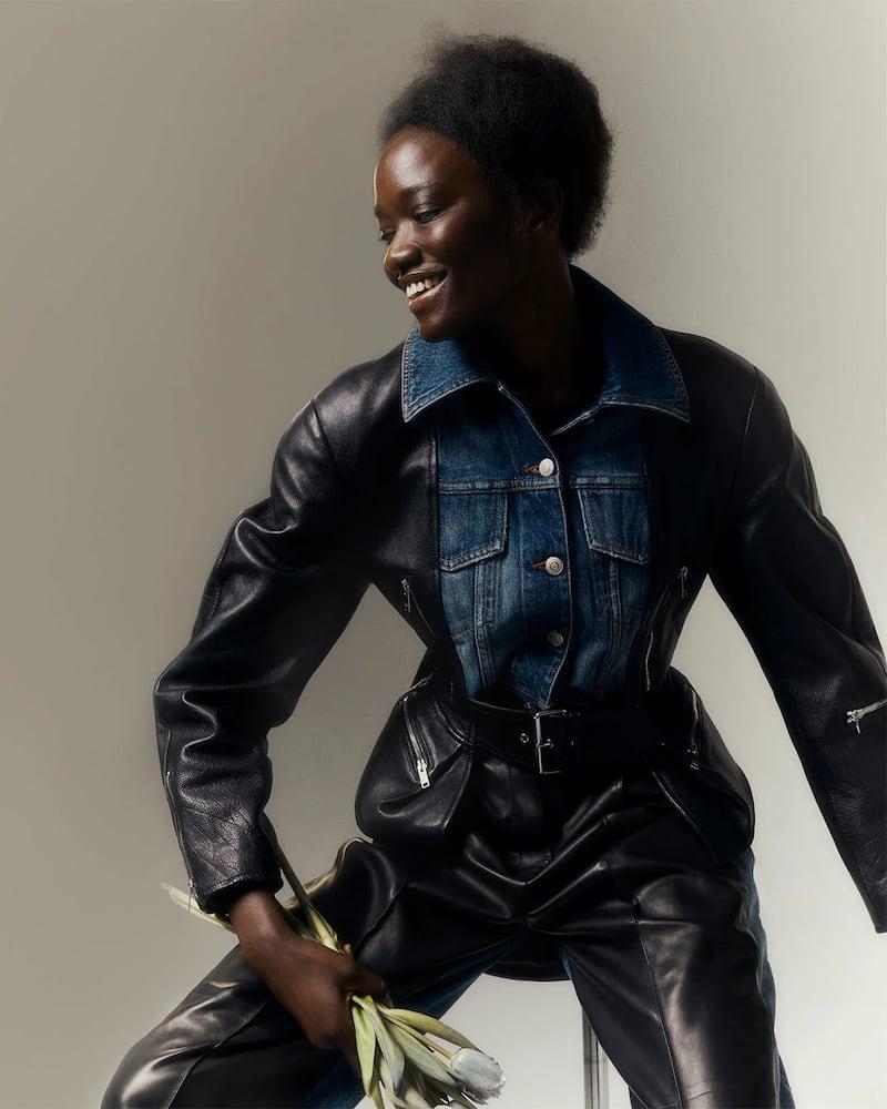Alexander McQueen Nappa Leather and Denim Basque Jacket