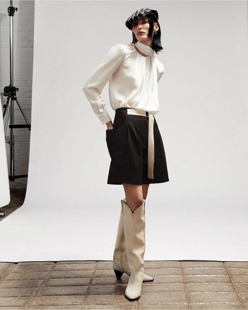 Alexander McQueen Scarf-Neck Silk-Georgette Blouse