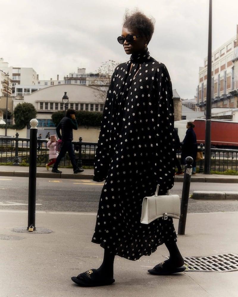 Balenciaga Tie-Neck Polka-Dot Ribbed Dress