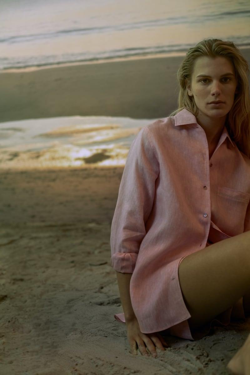 Loro Piana x Mytheresa Neo André Linen Shirt In Pink Mélange