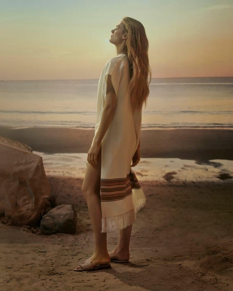 Loro Piana x Mytheresa The Suitcase Stripe Cotton and Linen Kaftan in White