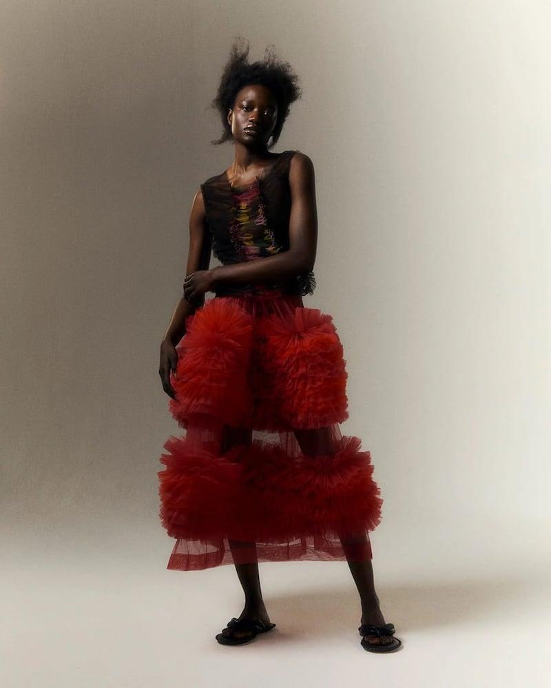 Molly Goddard Milo Asymmetric Frilled Tulle Skirt