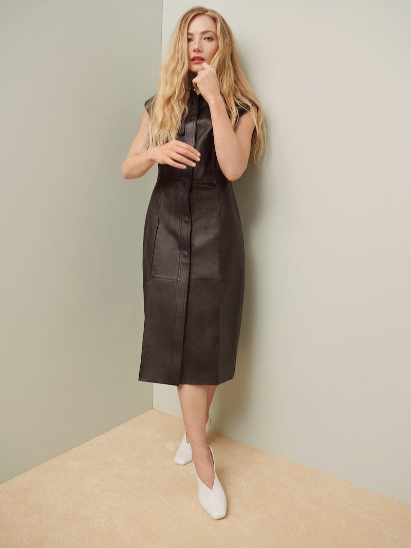 Salvatore Ferragamo Paneled Leather Dress