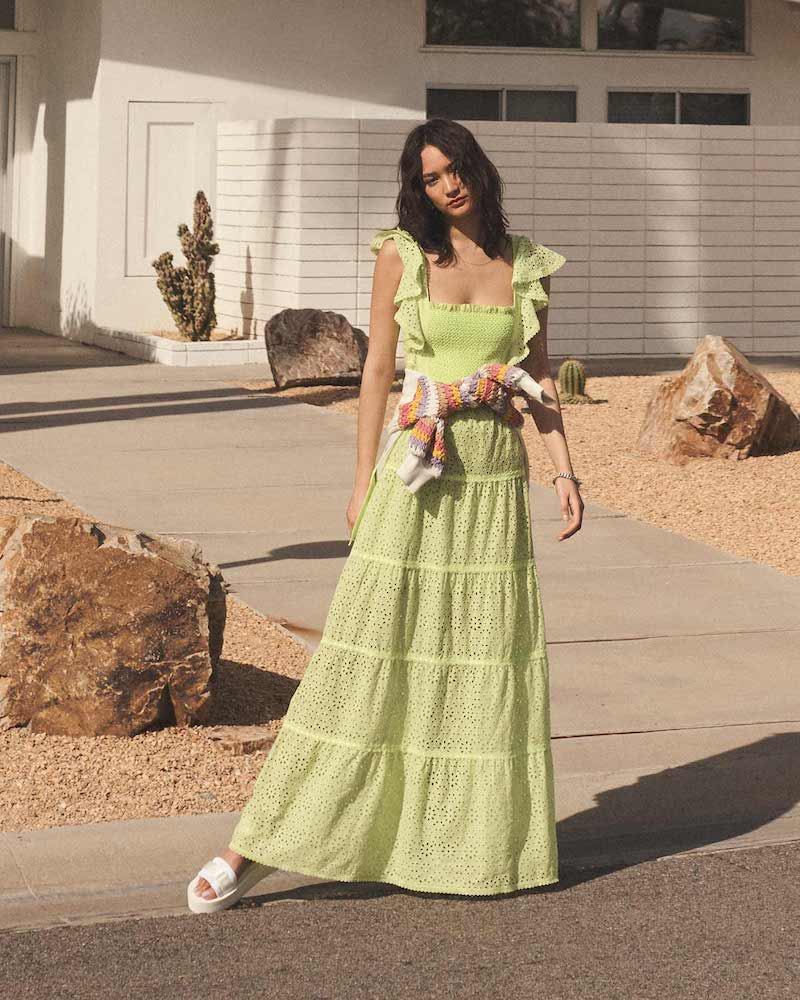 alice + olivia Jules Tie Back Paneled Maxi Dress