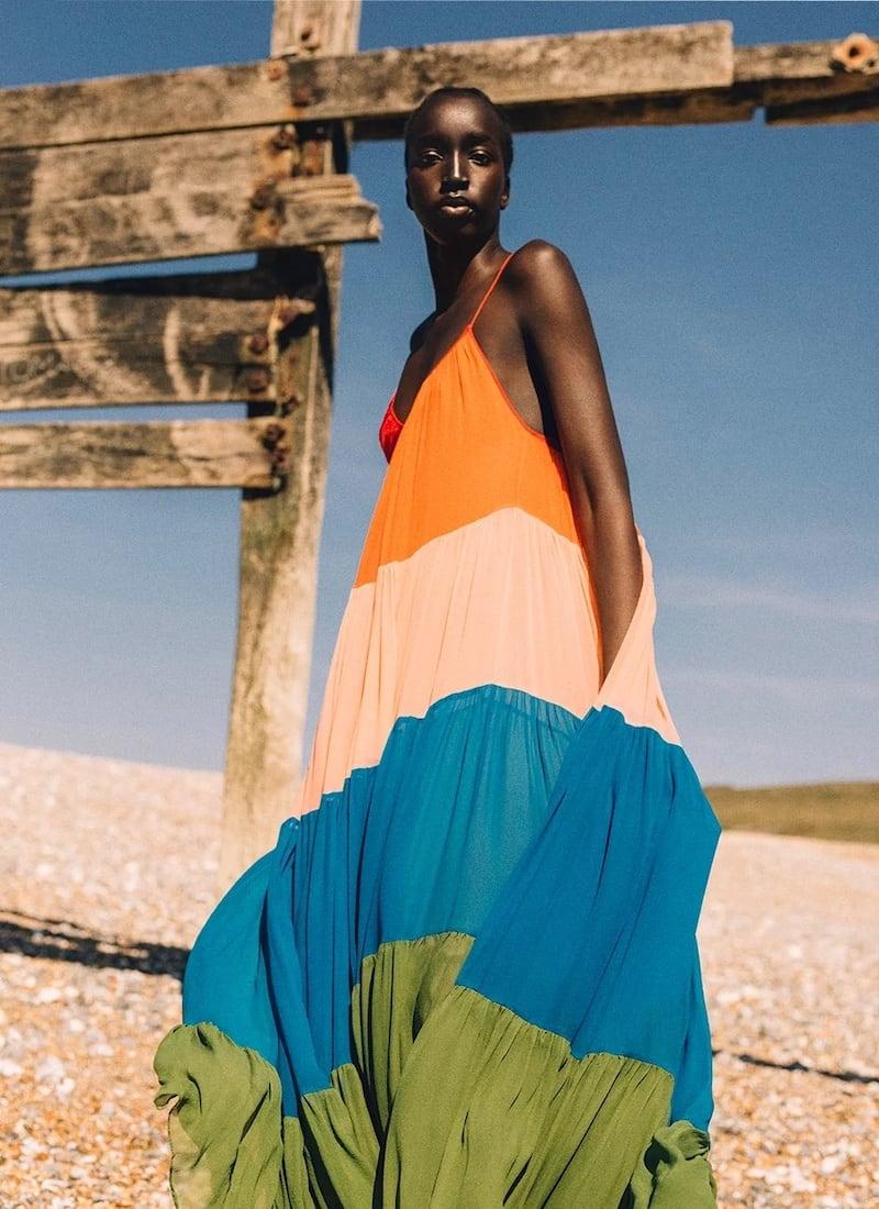 Carolina Herrera Striped Silk-Chiffon Maxi Dress