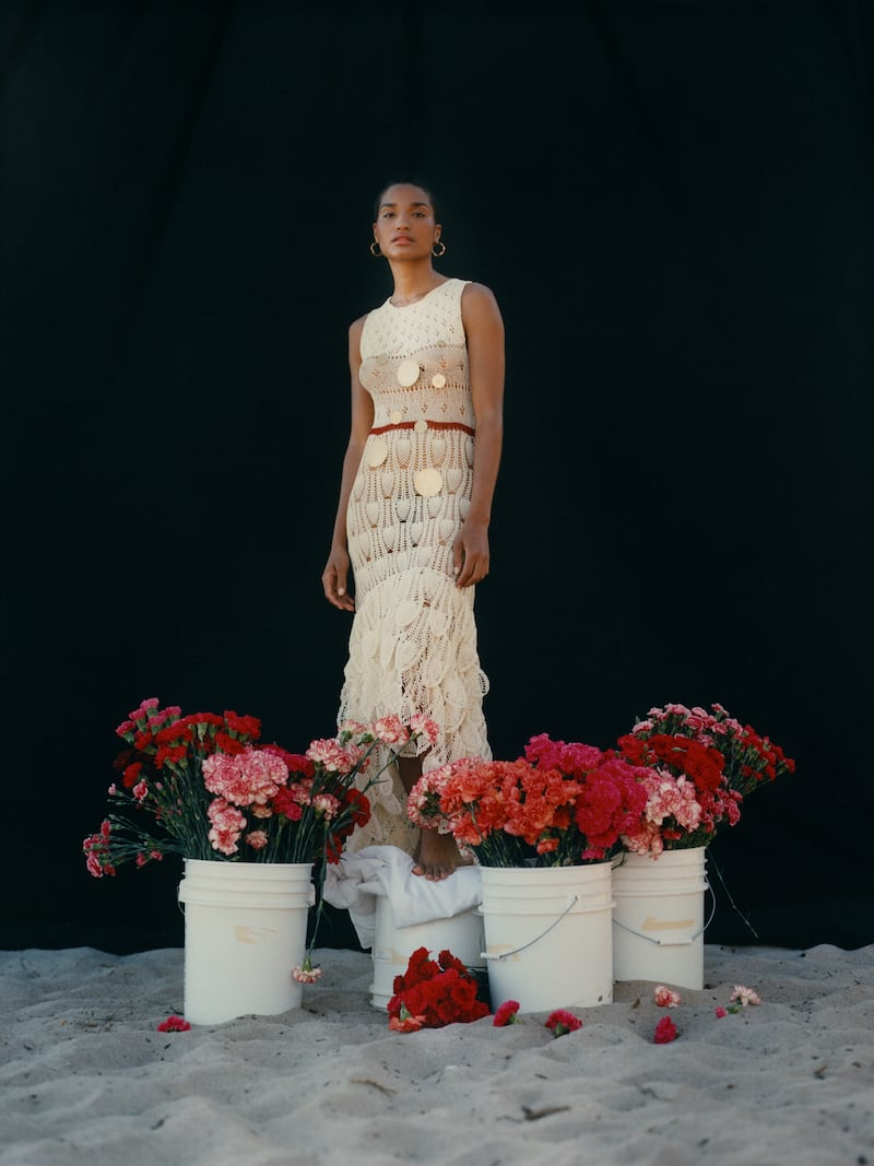 Loewe + Paula s Ibiza Asymmetric Embellished Crocheted Cotton-Blend Midi Dress
