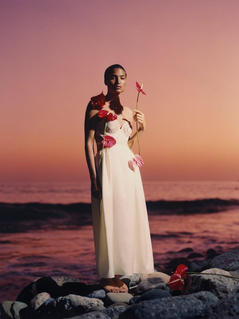 Magda Butrym Open-Back Crocheted Silk and Wool-Blend Satin Dress