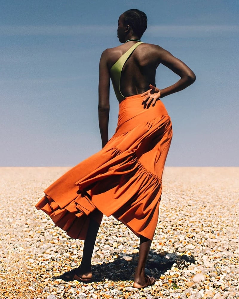 Matteau Asymmetric High-Rise Cotton-Blend Skirt