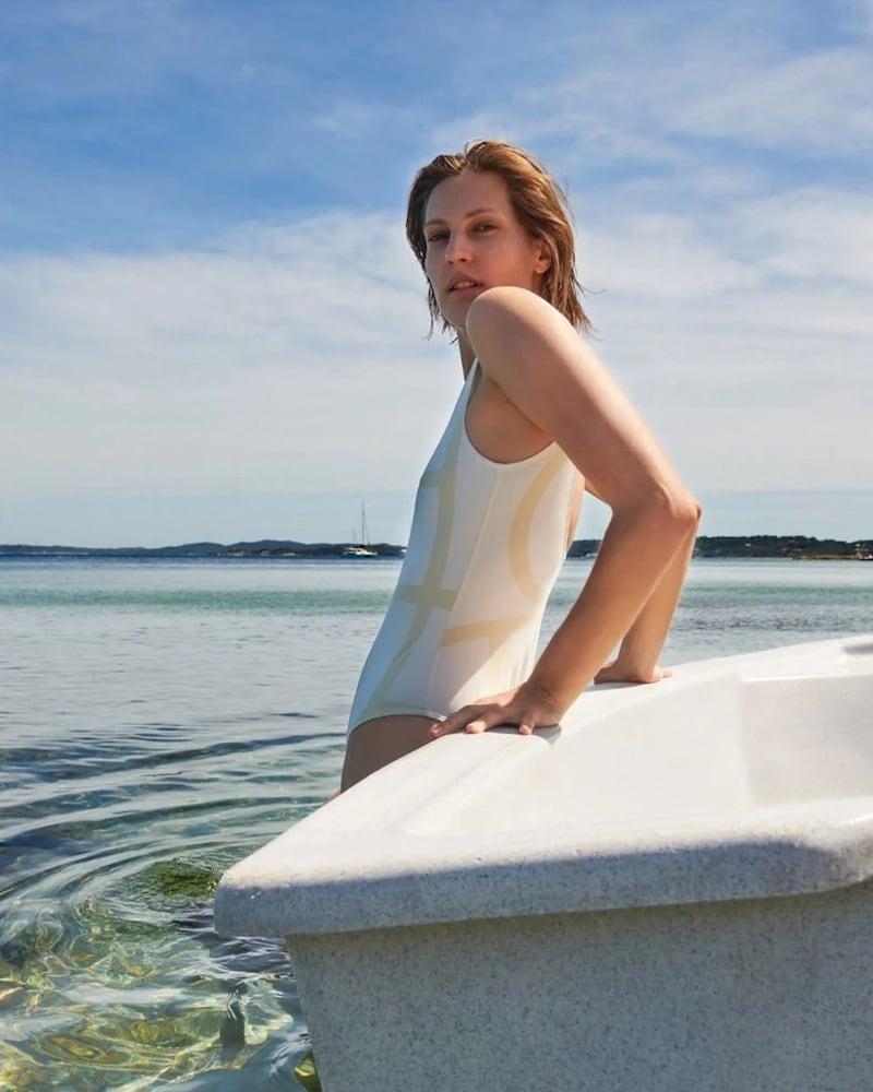 Totême Positano Monogram-Print Swimsuit