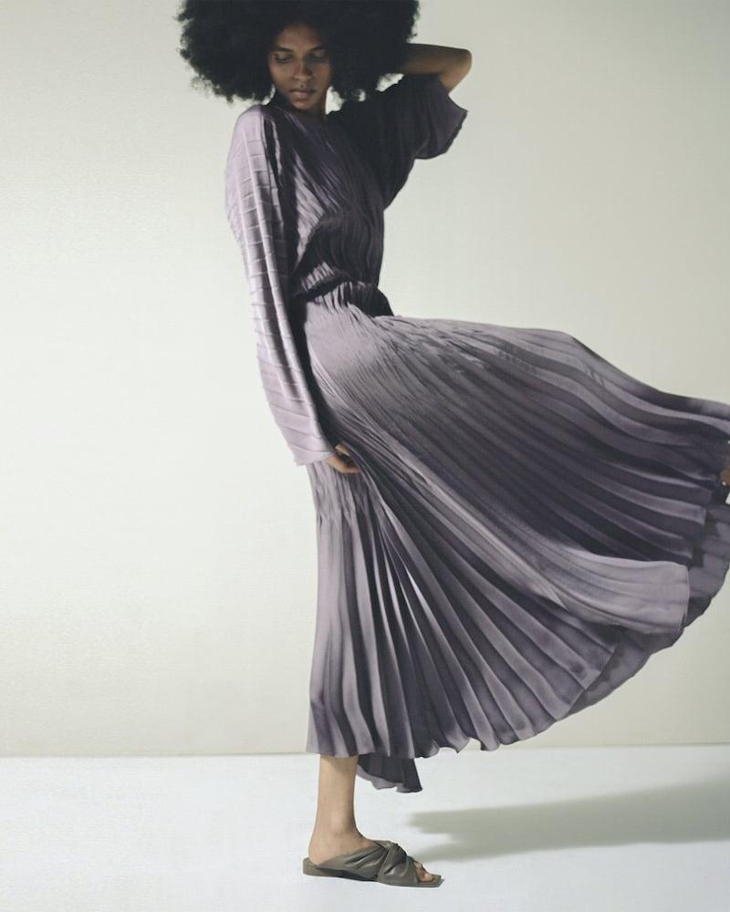 Vince Pleated Dolman-Sleeve Maxi Dress