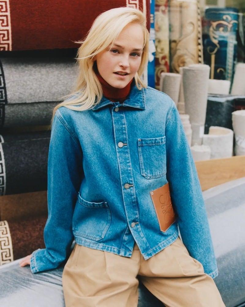 Loewe Blue Leather-Trimmed Denim Jacket