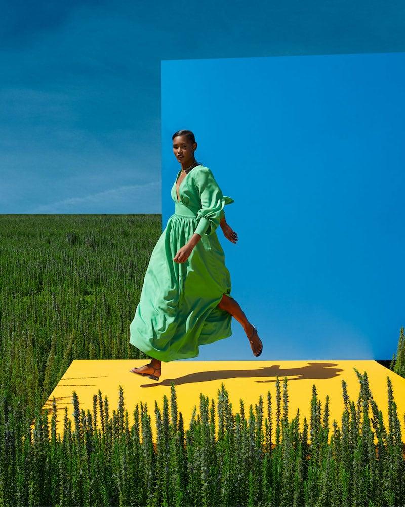 One33 Social V-Neck Stretch Crepe De Chine Maxi Dress