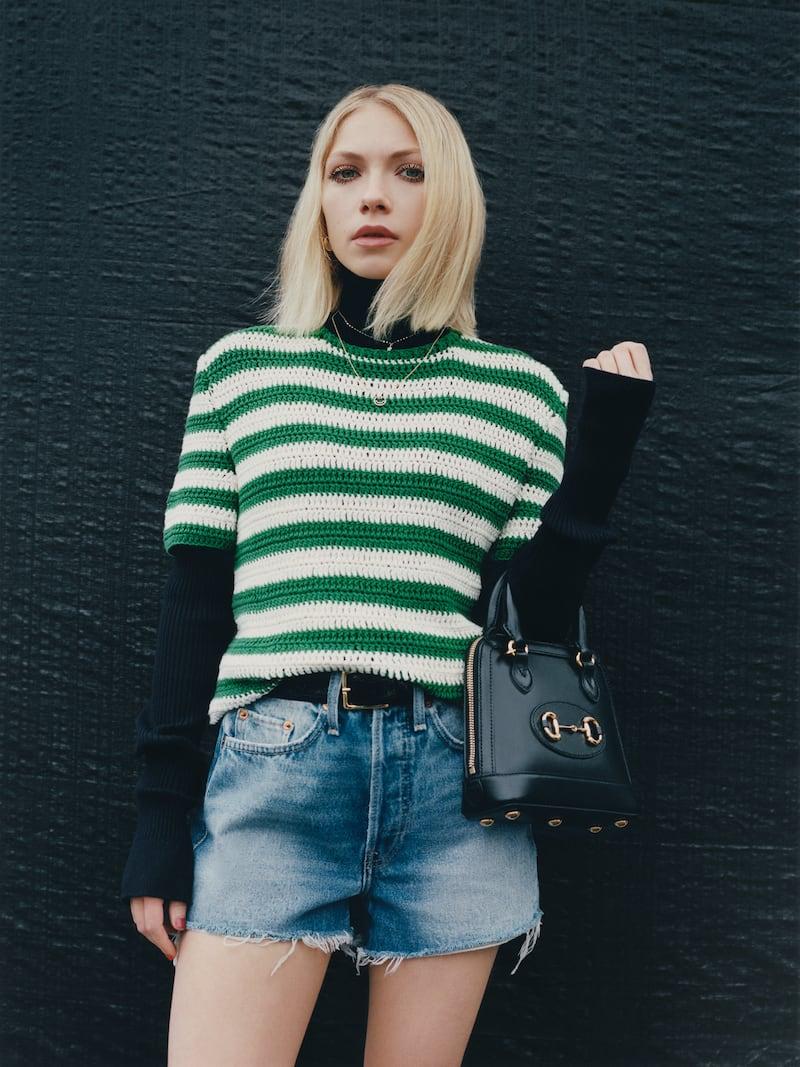 Oscar de la Renta Striped Cotton Sweater