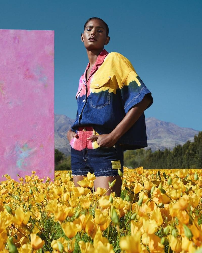 Versace Jeans Couture Tie-Dye Button-Front Denim Shirt