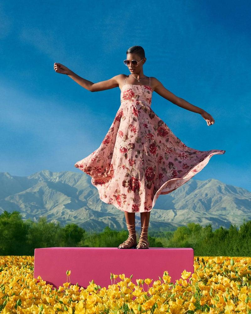 Zimmermann Cassia Floral-Print Bandeau Midi Dress