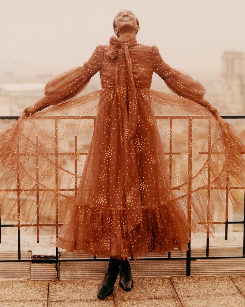 Zimmermann Tempo Ruched Glitter Gown